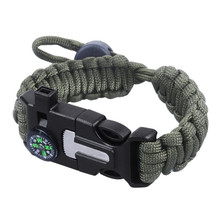 Wholesale Outdoor Adjustable Survival Paracord Bracelet With Compass Fire Starter Buckle