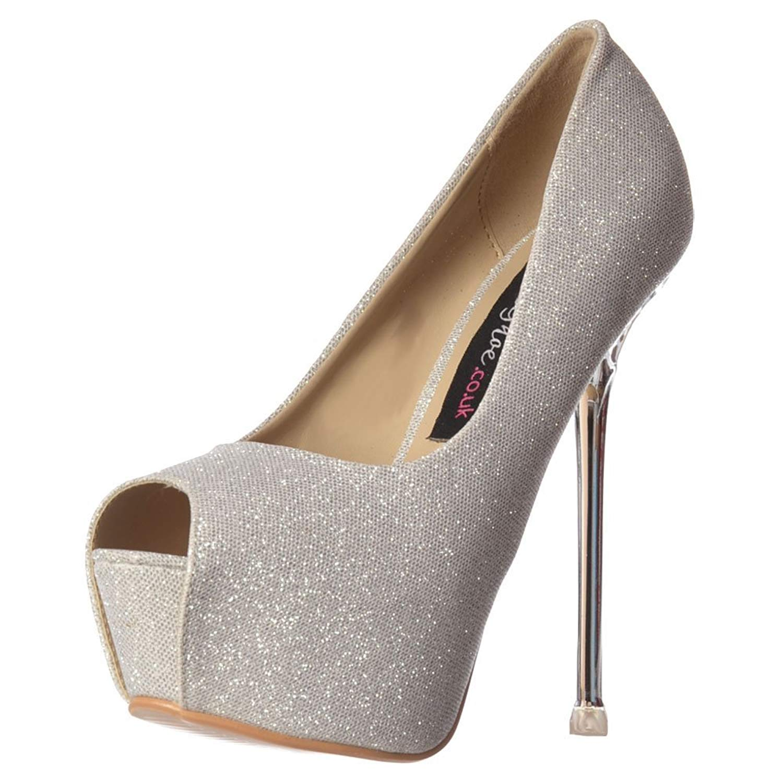 f20524bcab2b Get Quotations · Onlineshoe Women s Party Mid Heel Glitter Court