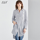New style loose slit open blue and white striped long blouse for women