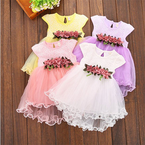 2018 Summer children party frocks designs lovely Flower kids dresses for wholesale baby clothes