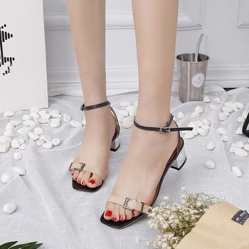 ZH0299L China import women open toe leather sandals belt buckle simple  design lady sandals
