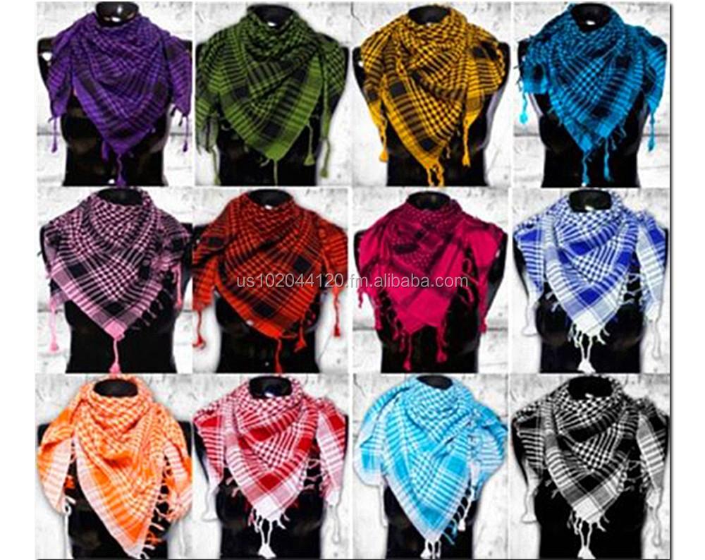 Comercio al por mayor unisex shemagh árabe palestina comprobar bufandas