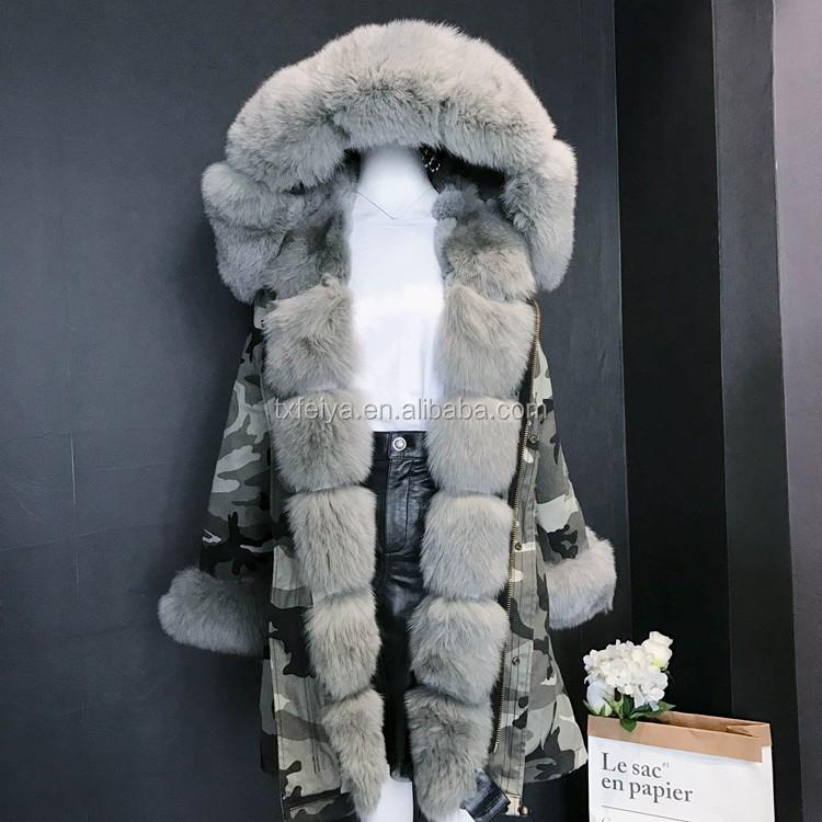 05d444bcb7a5 2017 Camouflage Real Fox Fur Parka Coat Grey Women Hooded Fur Parka ...