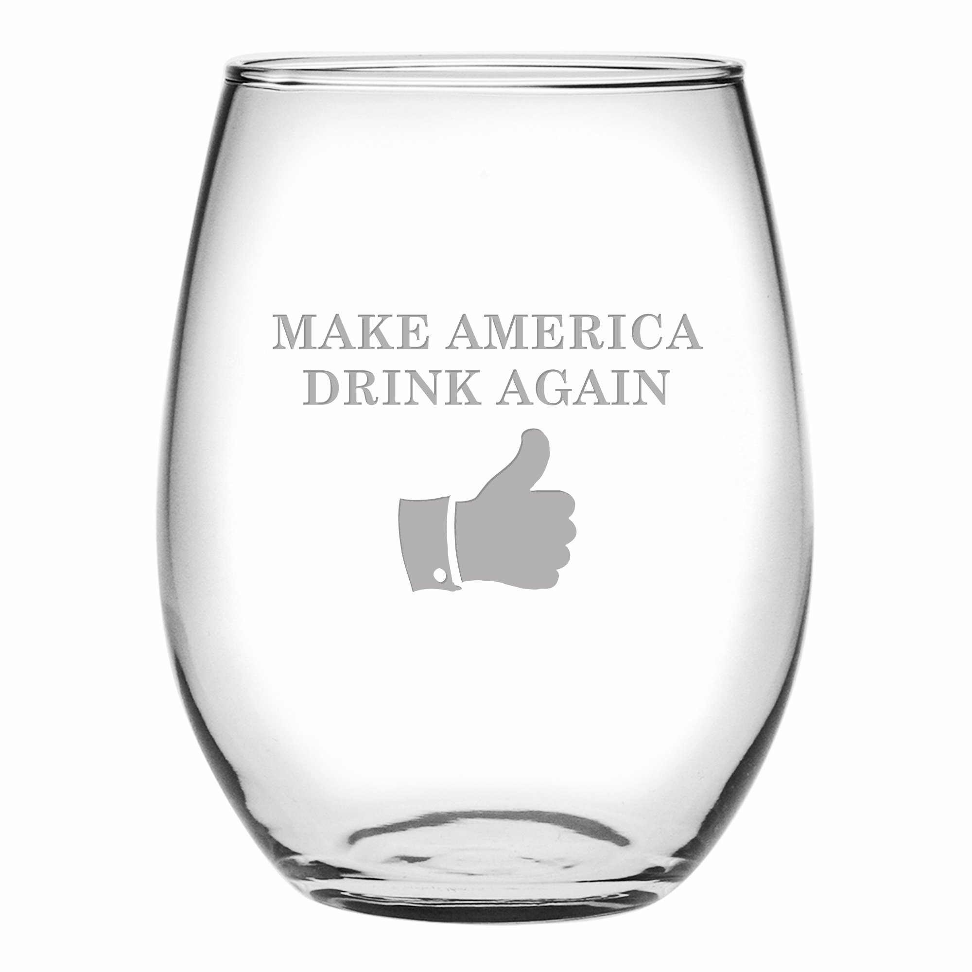 Fineware Make America Drink Again Funny Wine Glass - 15 Oz Etched Stemless Libbey Glass