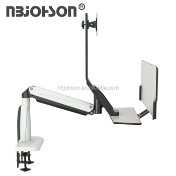 Dual Monitor Swivel Desk Mount Bracket Computer LCD Screen Stand