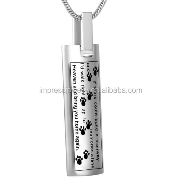 IJD9137 Top Sale Engraving Dog/Cat Paw print With Message Memorial Urn pendant rectangle Stainless Steel Pet cremation jewelry