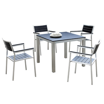 Garden Outdoor Brushed Aluminum Furniture Poly Wood Restaurant Minimalist  Cafe Table And Chair