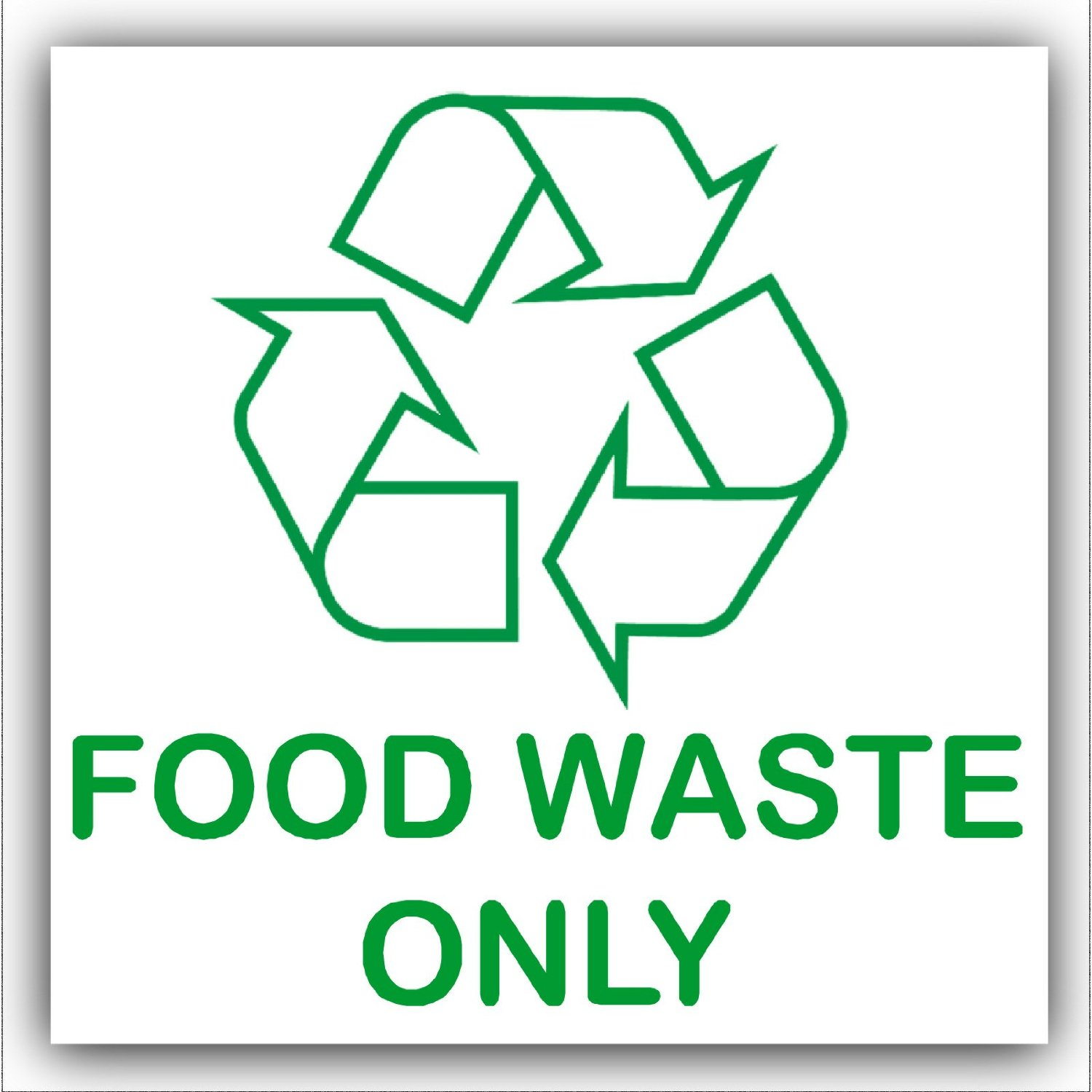 Get quotations · food waste only recycling bin adhesive sticker recycle logo sign environment label