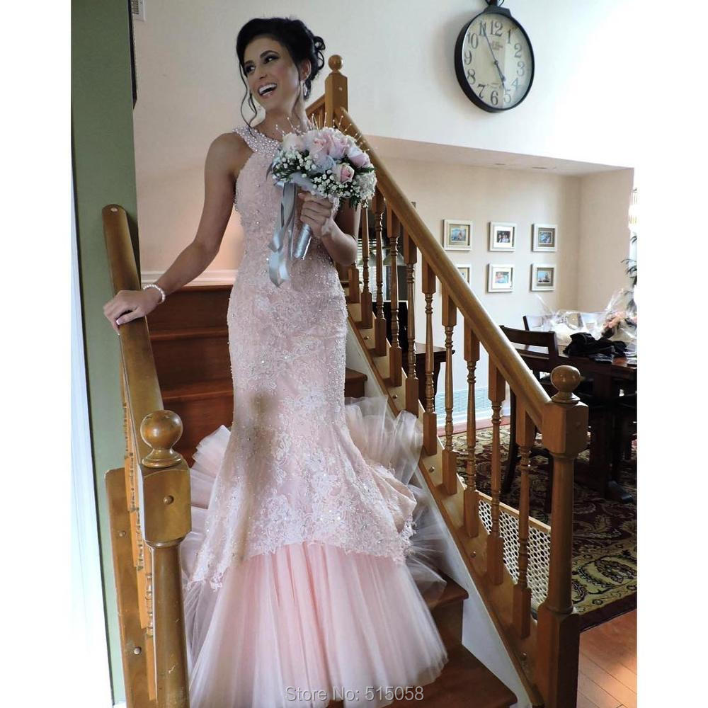 Pink Mint Green Lavender Lace Mermaid Wedding Dresses With Pearl