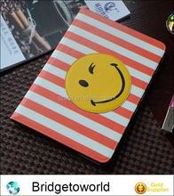 Simple Smile Face Pattern Leather Cover for ipad mini 1 2 3 4 Stripe Design Smiling Face Tablet Case