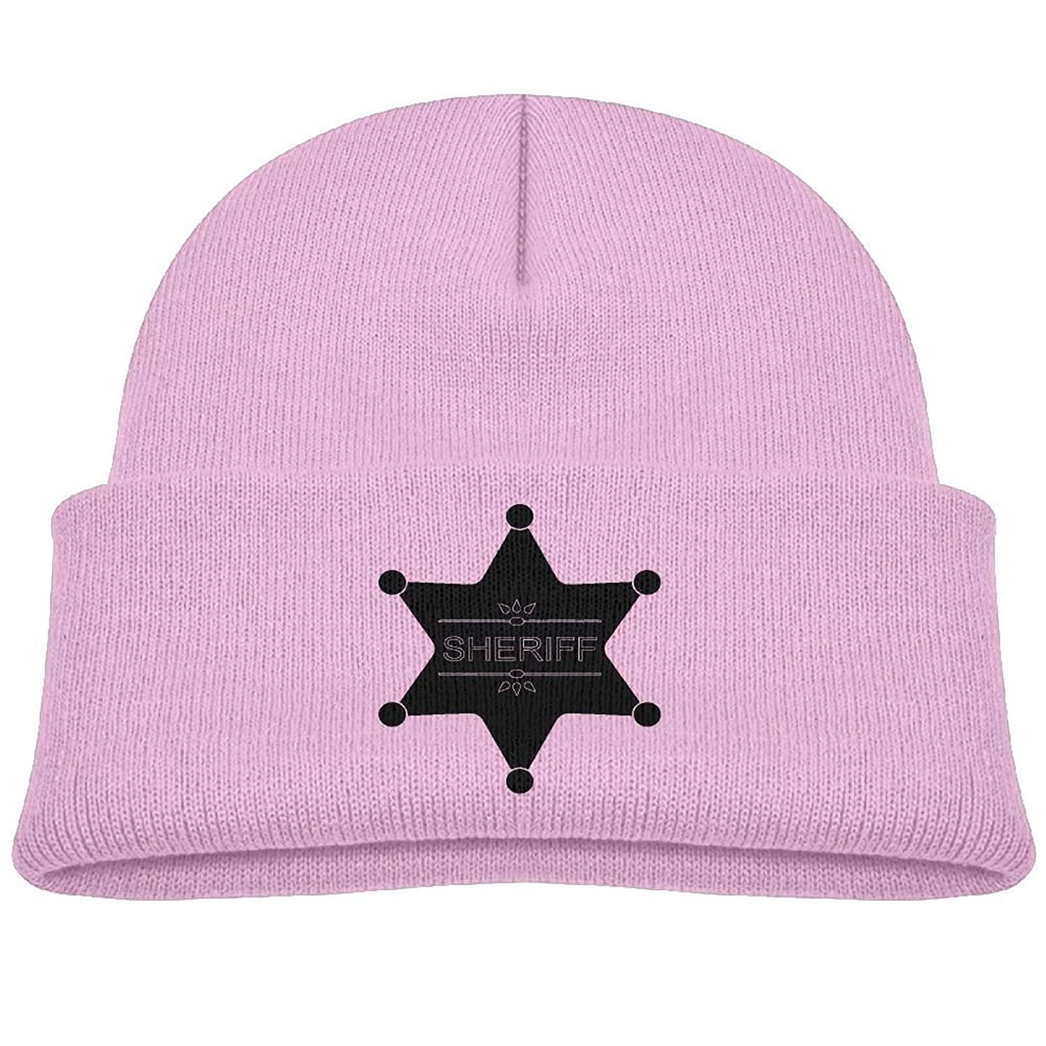 fd25f5acd40 Get Quotations · Raining Sunlight Kids Humor Old West Sheriff Badge Black  Casual Flexible Winter Knit Hats   Ski