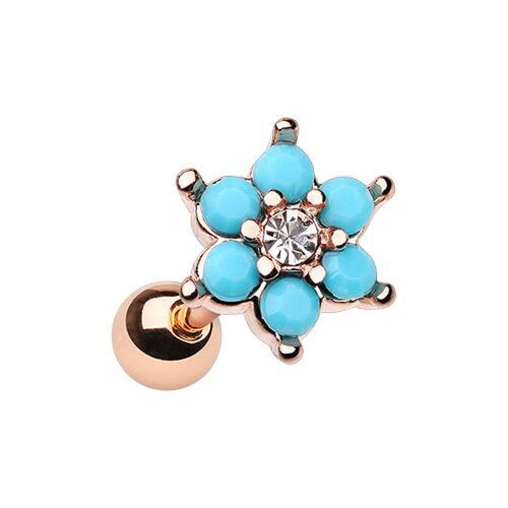 439eeb15e Get Quotations · Rose Gold Turquoise Spring Flower Sparkle WildKlass  Cartilage Tragus Earring