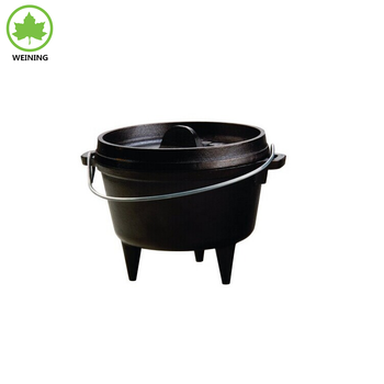 Pre-seasoned Campfire Stand Cast Iron Pot Camping Tripod Hanging Dutch Oven
