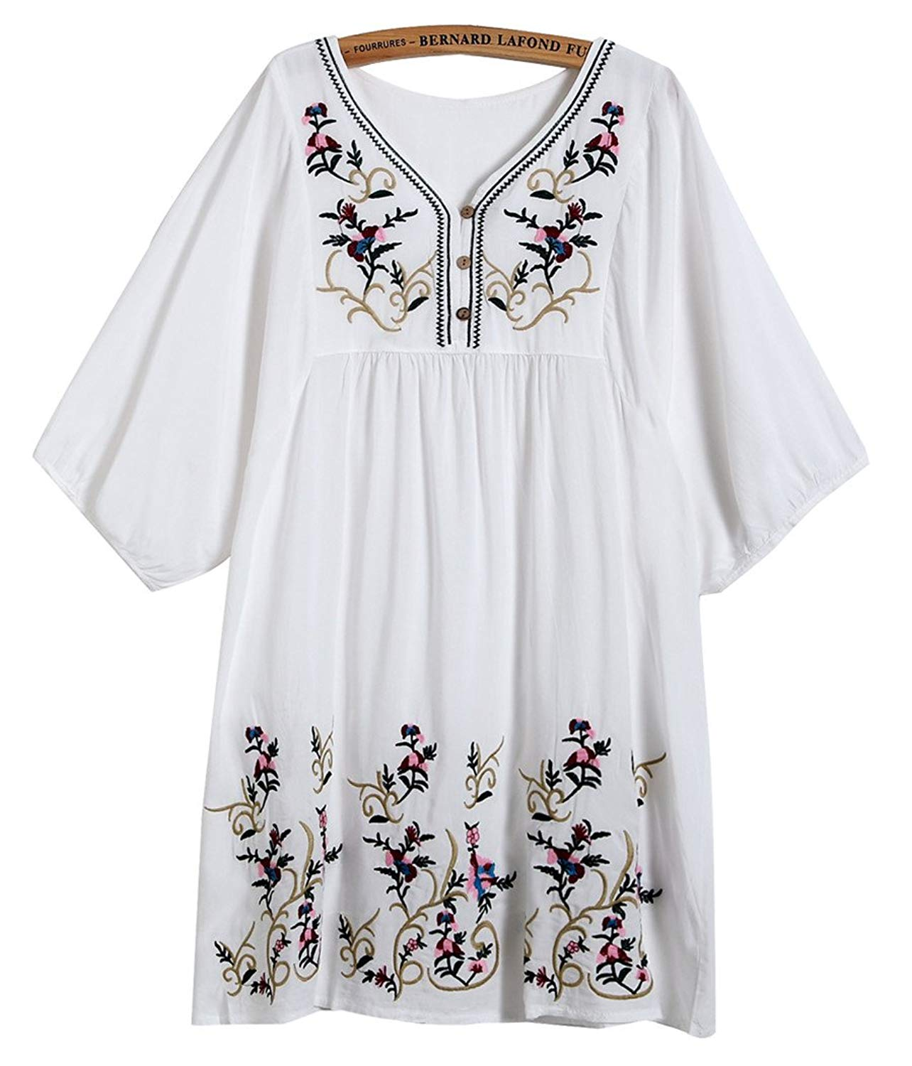 Kafeimali Women S T Shirt Tunic Dresses Mexican Embroidered Peasant Tops Blouses