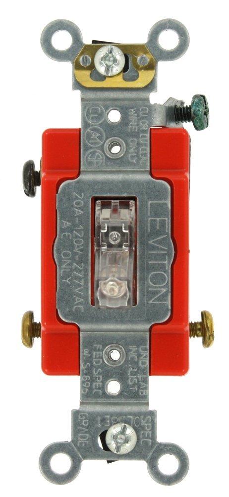 Light Almond Leviton 1223-ST 20-Amp Toggle 3-Way AC Quiet Switch 120//277-Volt Heavy Duty Grade Grounding