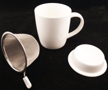 Plain White Blank Ceramic New Bone China Coffee Mug Tea Cup With Strainer Lid