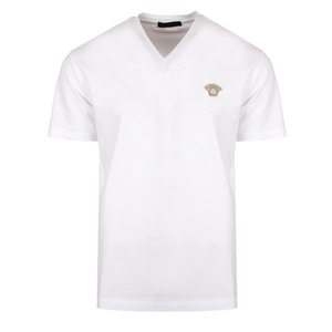 Cotton Collection Medusa Logo Classic V-Neck T-Shirt in white/gold