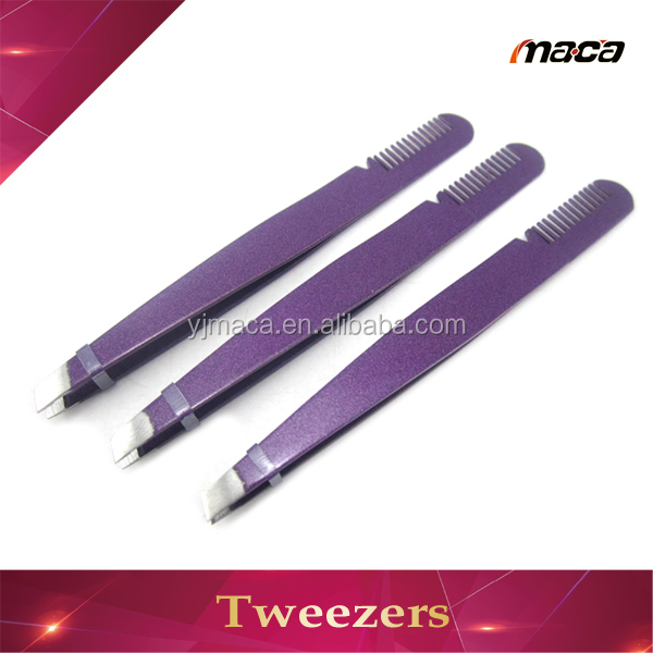 Wholesale purple volume eyelash tweezers with comb