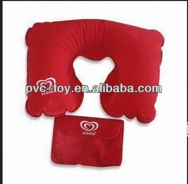factory direct sale inflatable red travel pillows with a bag