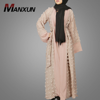 Manufacturer New Model Abaya In Dubai Elegant Kimono Clothing Front Open Islamic Clothes Indonesia Long Sleeve Maxi Dress
