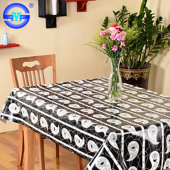 Custom Printed Design Striped Disposable Plastic Tablecloth 108 X 54 Black With Matt Finished