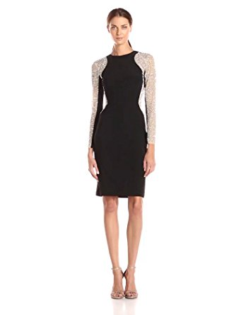 317ca74494b Get Quotations · Xscape Women s Short Ity Beaded Long-Sleeve Dress