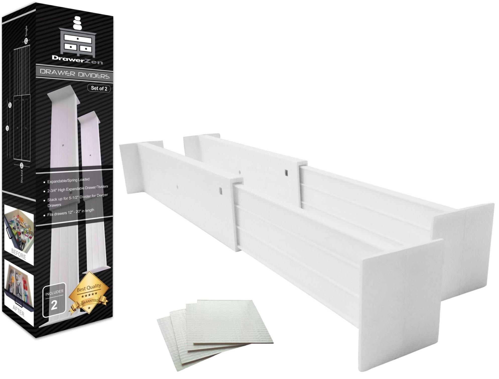 Get Quotations · Adjustable Drawer Dividers And Drawer Organizer By  DrawerZen   Clutter Free Kitchen Bathroom Bedroom Dresser Drawer