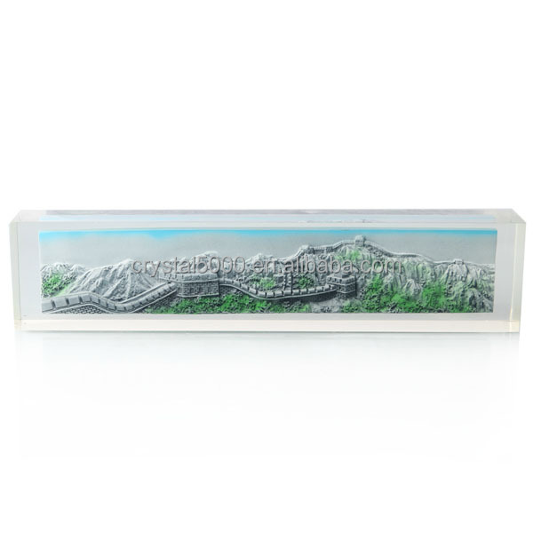 Great wall Crystal paperweight custom glass paper weight