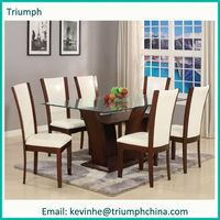 Professional factory handcraft wood and glass dining table