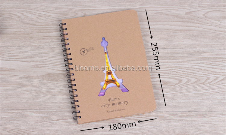Customize kraft notebook/spiral notebook with colored paper,kraft paper blank notebook made in china,chinese notebook