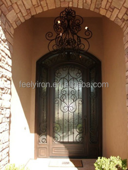 Modern Wrought Iron Exterior Single Door With Sidelights