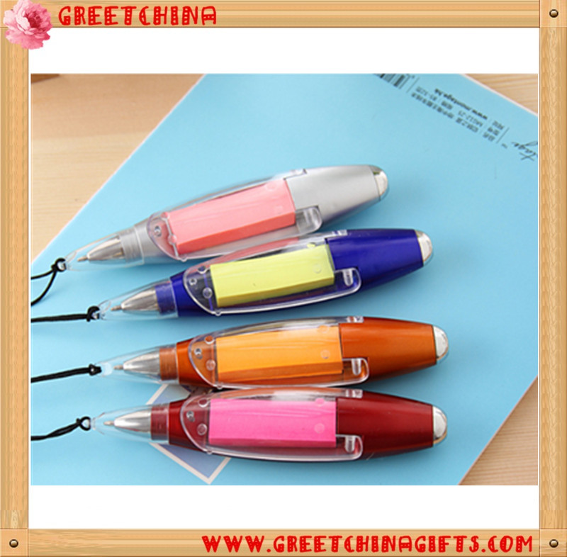 Promotional pen custom logo function led light ballpoint pen with sticker