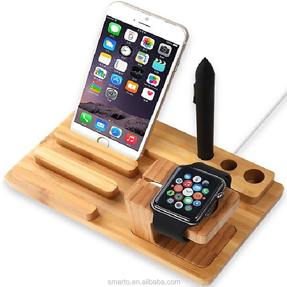 Classic wooden crafts mobile wooden pen holder for apple watch stand/mobile phone/tablet/pen/stylus