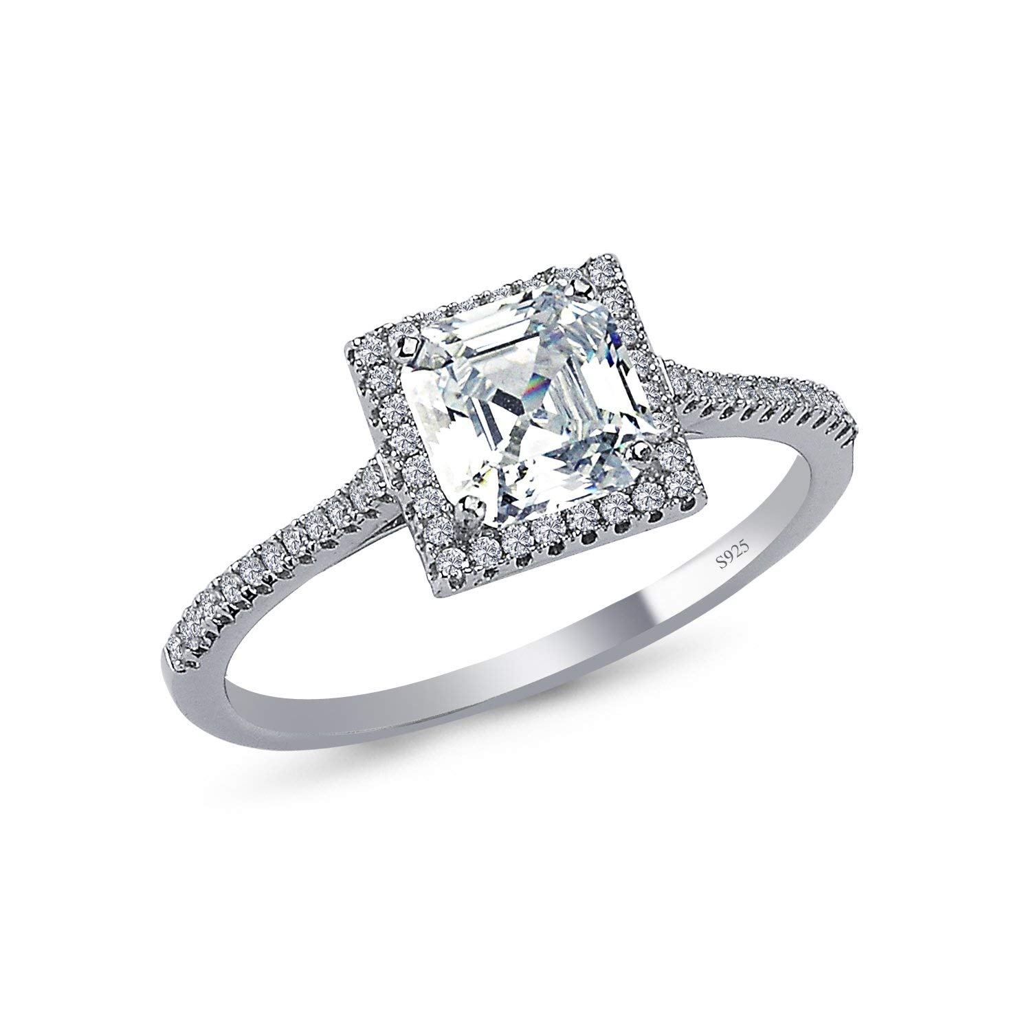 aa4822478 Get Quotations · 925 Solid Sterling Silver 9MM Cushion Halo AAAAA+ Gem  Grade Quality ASSCHER Cut Total 2 CARAT