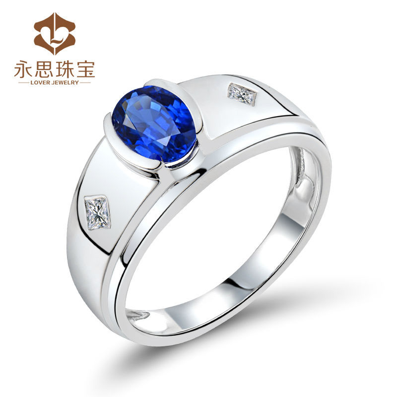 Blue Sapphire Mens Ring Men Style Sapphire Diamond Ring With 18k