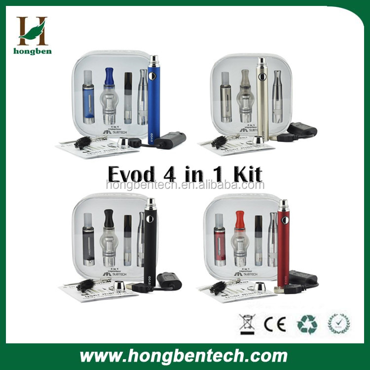New Arrival 4 IN 1 Evod Kit E Cigarettes Kit With Dual Coil Vape Wax Pens MT3 Atomizer Dry Herbal Vaporizer