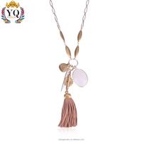 PYQ-00287 silver chain leather tassel natural stone pendant simple gold pendant design
