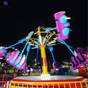 Outdoor amusement park games adult entertainment thrilling flying chair airborne shot spiral jet rides for sale