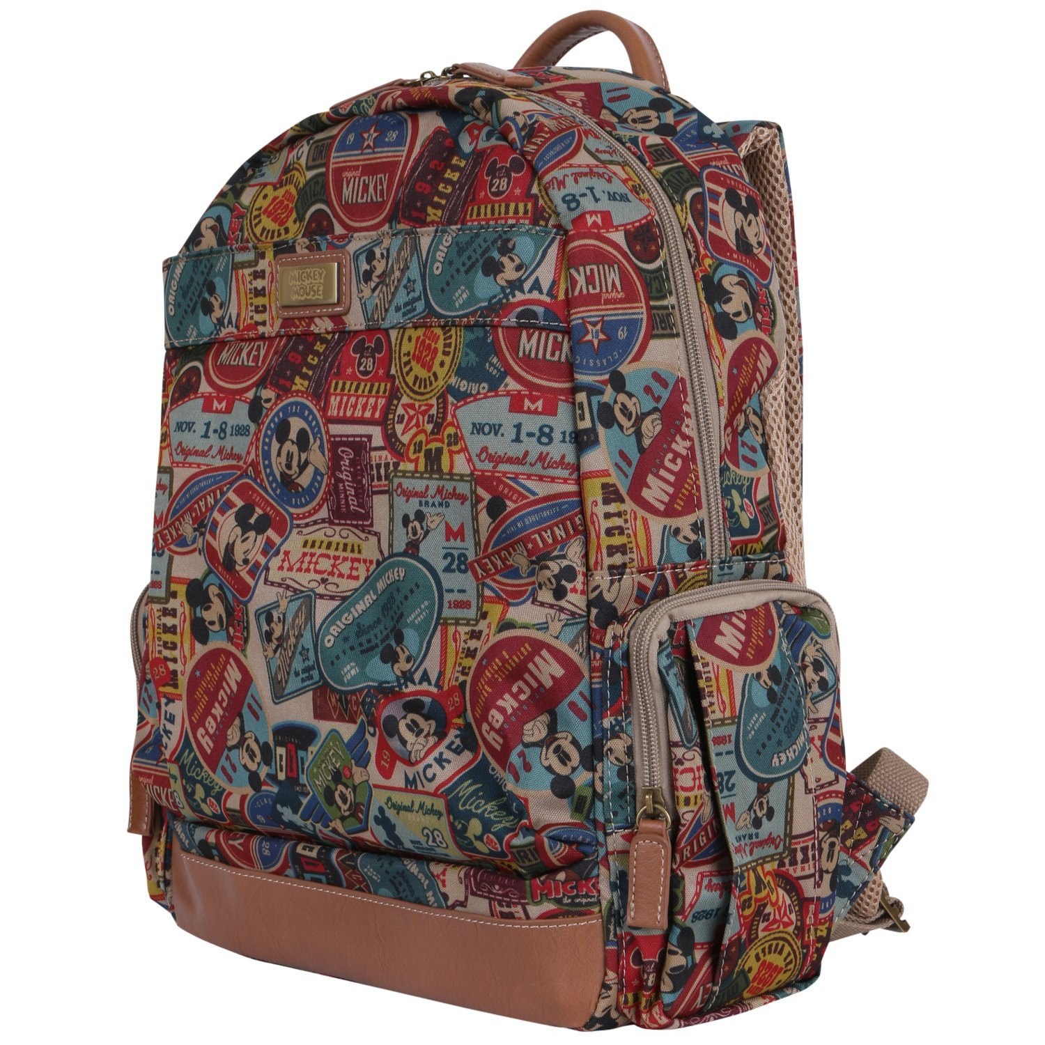 de49f91ba0c Get Quotations · Disney Vintage Style Mickey Mouse Pattern Mesh Multi  Purpose Backpack Rucksack