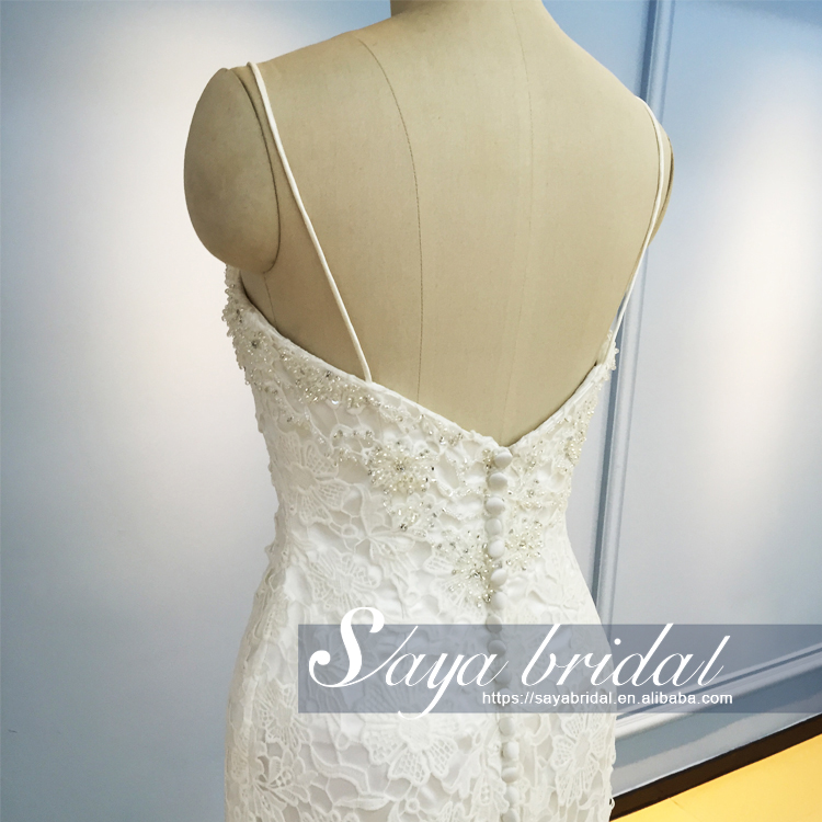 Spaghetti strap beach casual lace beaded wedding dress bridal gown