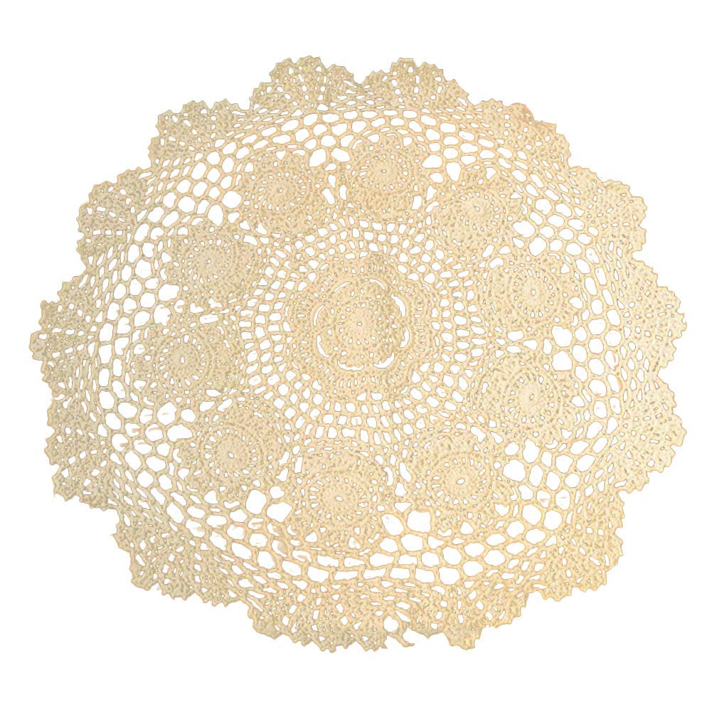 Vintage Style Handmade Bobbin Lace Flower Embroidery Cotton Doily Beige