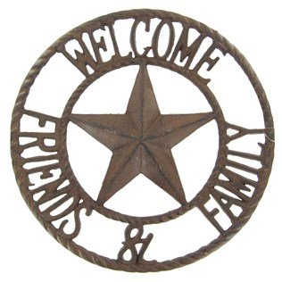 Aunt Chris Products - Heavy Round Large Cast Iron ~ Welcome Friends & Family Sign - Circle With A Star In The Middle - Old Country Western Design - Indoor or Outdoor Use - Bronze Rustic