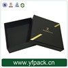 Custom Gold Metallic Logo All Black Jewelry Gift Box For Brooch Packaging