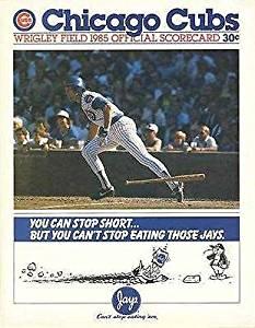 1985 CHICAGO CUBS VS. PIRATES~RYNE SANDBERG SCORECARD