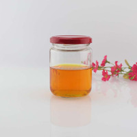 High quality 300ml 10oz cylinder shape wide mouth jam sauce glass mason jar with red metal screw cap wholesale
