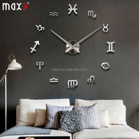 Original brand DIY Large Wall Clock 3d Mirror Sticker Metal Big Watches Home Decor Unique Gift