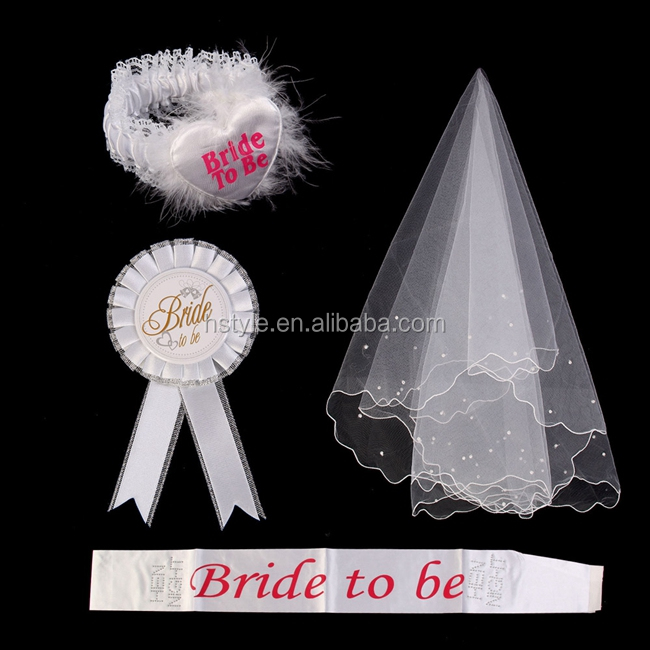 Bride To Be White Rosette Mantilla Badge Sash Garter Veil Hen Night Party SAS003