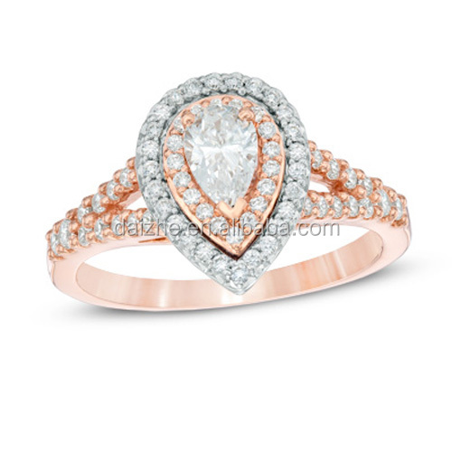 two tone plated 10K wedding ring set with drop cz
