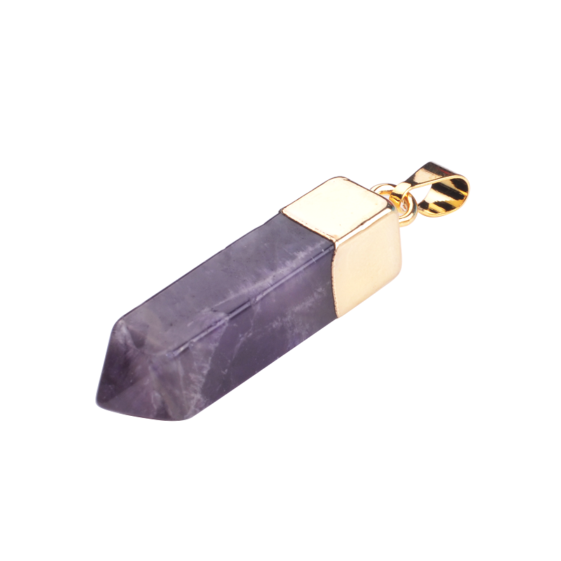 Natural Precious Stone Crystal Hexagonal Prism Charms Skull Pendant With Silver Finding