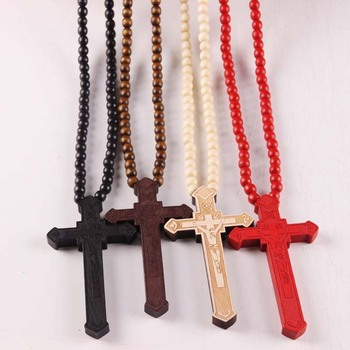 2017 Yiwu Hot Sale Fashion Wooden Beads Cross Necklace Men Women Ladies Cross Wooden Bead Necklace Buy Cross Wooden Bead Necklacewooden Beads Cross